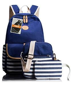 Leaper 3-in-1 Thickened Canvas School Backpack Shoulder Bag