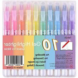 Tebik 10 Colors Bible Safe Dry Gel Highlighters Markers Stud