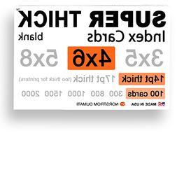 "100 SUPER THICK index cards / 4""x6"" / 14pt  100lb / blank un"