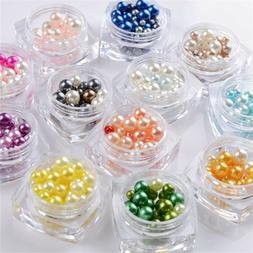 12Colors Box 3D Nail Art Round Highlight Pearl Charms Manicu