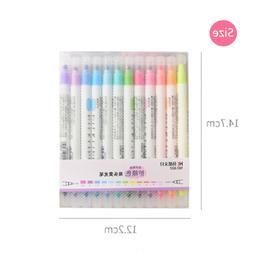 12PCS Dual-Headed Highlighter Fluorescent Marker Pen Bright
