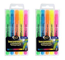 2 Sets of 5 Gel Highlighters, Assorted Fluorescent Colors