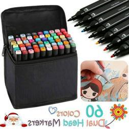 60 Color Set Twin Tip Marker Pen Alcohol Sketch Graphic Art