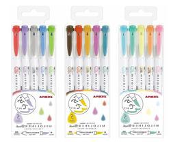 2019 NEW Zebra MildLiner Brush Pen Set Double Sided Marker 5