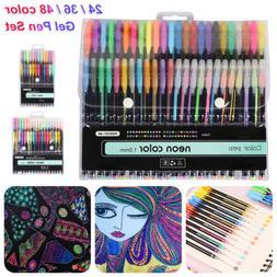 24/36/48 Metallic Neon Gel Pen Set Watercolor Marker Pastel