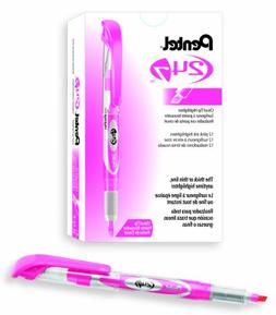 Pentel 24/7 Chisel Tip Liquid Highlighter, Pink Ink, Box of