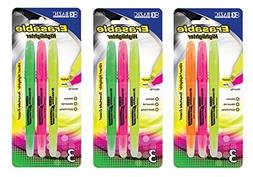 3 Pk, BAZIC Erasable Highlighters, Chisel Tip- 3/Pack