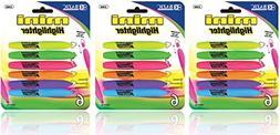 3 Pk, BAZIC Mini Highlighter w/ Cap Clip, 6/Pack