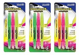 3 Pk, BAZIC Erasable Highlighters, Chisel Tip- 3/Pack  by Ba