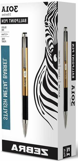 Zebra 301A Retractable Ballpoint Pen, 0.7mm, Gold Barrel, Bl
