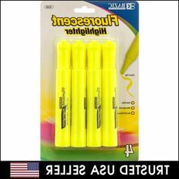 4PCS BAZIC FLUORESCENT HIGHLIGHTER CHISEL TIP ODORLESS QUICK