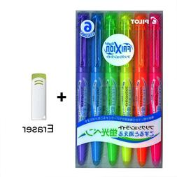 6 Color Pilot Frixion Light Fluorescent Ink Erasable Highlig