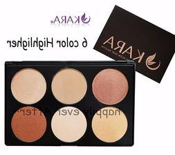 KARA 6 Colors Highlight Palette- 6 Color Highlighter Glow Du