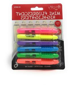 6 Mini HIGHLIGHTERS Neon Colored Chisel Tip Markers