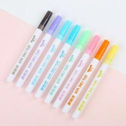 8 Colors Drawing Double Line Outline Pen Highlighter Marker