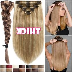 8A Thick Double Weft Clip In Real Remy Human Hair Extensions