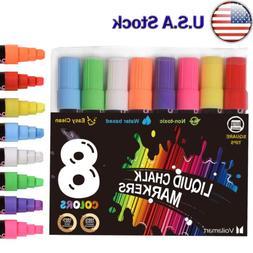 8pcs Liquid Chalk Markers Pens Set Highlight Erasable Fluore