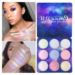9 Color Glitter Eyeshadow Powder Palette Highlighter Face Co