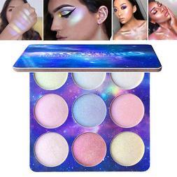 CmaaDu 9 Colors Highlighter Palette Makeup Powder Glow Kit i