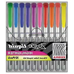 Zazzle Liquid Ink Highlighter, Chisel Tip, Asst Colors, 10/S