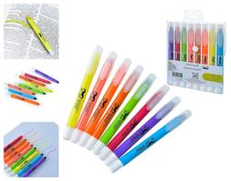 Assorted Colors Dry Highlighters 8-Pack Bible Safe No Bleed