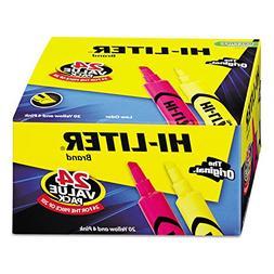 Avery 98189 Hi-Liter Brand Highlighters, Chisel Tip, 20-Yell