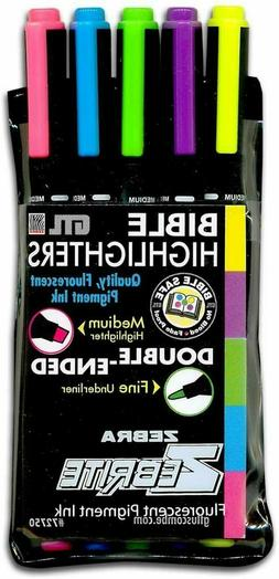Bible Highlighters SET of 5 Fluorescent Double Ended Markers