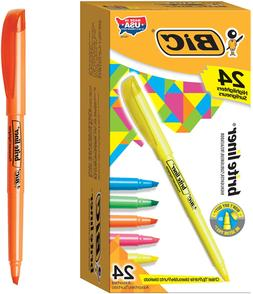 BIC Brite Liner Highlighter, Chisel Tip, Assorted Colors, 24