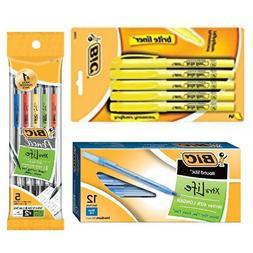 Bic Bundle: Bic Medium Ball Point Pen, Blue Ink ; Bic Brite