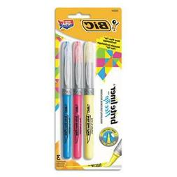 BIC Brite Liner Flex Tip Highlighter, Assorted Colors, 3-Cou
