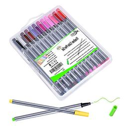 24 Color No Bleed Through Pens Markers Set 0.4 mm Fine Line