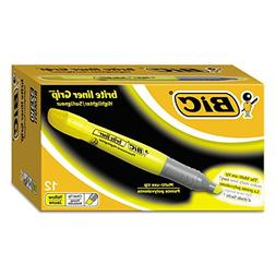 BIC BLMG11YW Brite Liner Grip Highlighter, Chisel Tip, Fluor
