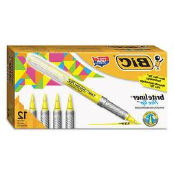 BIC Brite Liner Flex Tip Highlighters, Brush Tip, Yellow, 1