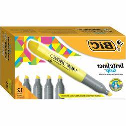 BIC Brite Liner Grip Highlighter, Tank, Chisel Tip, Yellow,