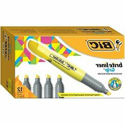 BIC Brite Liner Grip Highlighter, Tank, Chisel Tip, Yellow,