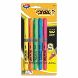 BIC Brite Liner Grip Highlighters, Chisel Tip, Assorted Colo