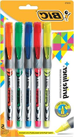 BIC Brite Liner+ Highlighter, Chisel Tip, Assorted Colors, 5