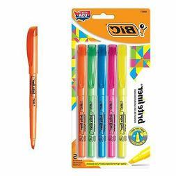 BIC Brite Liner Highlighter, Chisel Tip, Assorted Colors, 5-