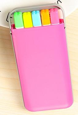 5 colors/box Candy color highlighter pen set Mini fluo marke