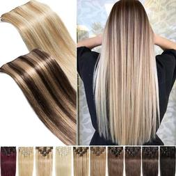 CLEARANCE Clip in 100% Real Human Hair Extensions Full Head