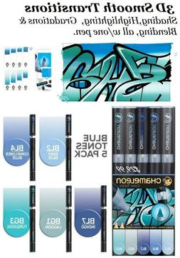 CHAMELEON COLOR TONES MARKERS 5 SET  BLUE TONES 3D highlight