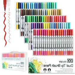 Colorful Dual Tip Brush Markers Pens Set Art Paint Highlight
