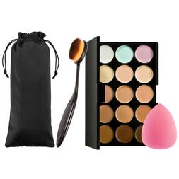 Contour Kit Highlighting Cream Palette 15 Colors w Sponge Pu