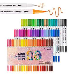 Dual Tip Brush Markers Pen 60 Colors, Fine and Brush Tip Col