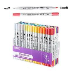 Dual Tip Brush Markers Pens Set Art Paint Highlighter For Sc