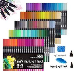 100 Colors Dual Tip Brush Pens Non-Toxic Odorless Markers Se