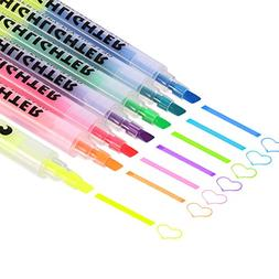 Mtlee 7 Colors Dual Tips Permanent Art Markers Highlighter S