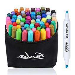 Feela 60 Colors Dual Tips Art Twin Markers, Marker Pens High