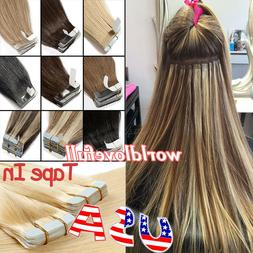 Durable Tape In Remy Human Hair Extensions Skin Weft Ombre H