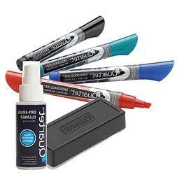 Quartet Dry Erase Markers Accessory Kit, 4 Chisel Point Endu